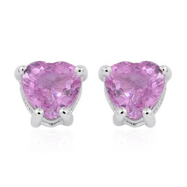 ILIANA 18K White Gold 1 Carat AAA Pink Sapphire Heart Solitaire Stud Earrings with Screw Back.