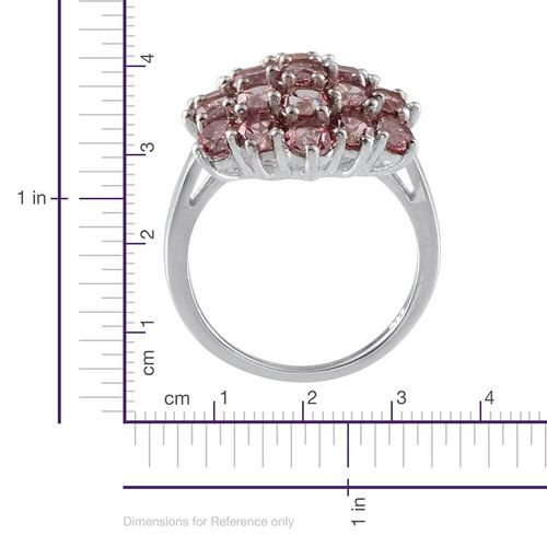 Signity Pink Topaz (Rnd) Cluster Ring in Platinum Overlay Sterling Silver 6.250 Ct.