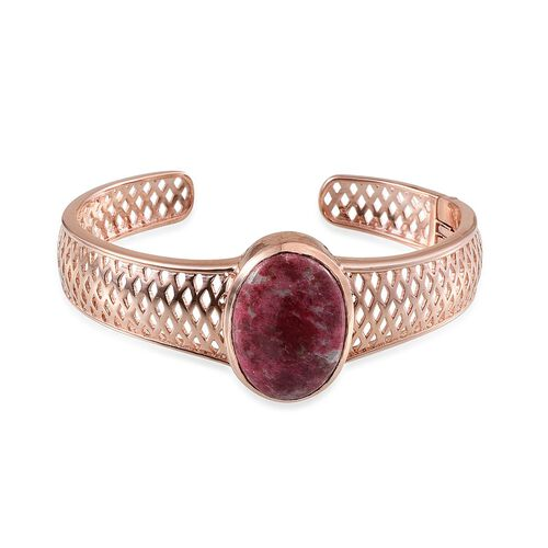Norwegian Thulite (Ovl) Cuff Bangle (Size 7.5) in ION Plated Rose Gold Bond 28.000 Ct.