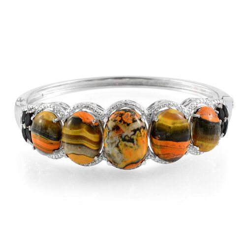 Bumble Bee Jasper (Ovl 11.50 Ct), Boi Ploi Black Spinel and Diamond Bangle (Size 7) in Platinum Overlay Sterling Silver 41.850 Ct.