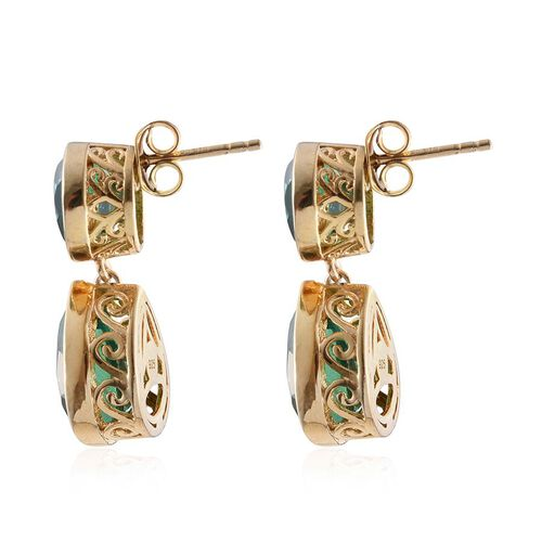 Peacock Quartz (Pear) Earrings (with Push Back) in 14K Gold Overlay Sterling Silver 11.500 Ct.