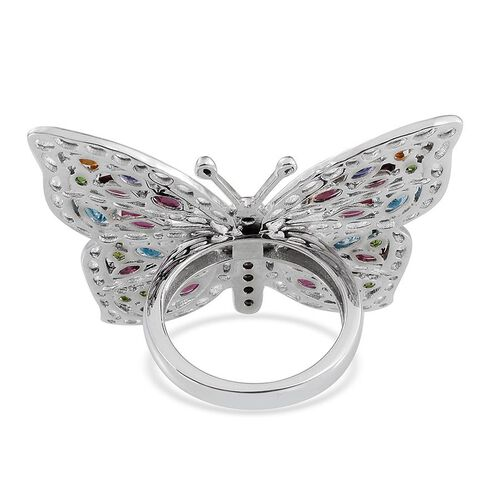 GP Rhodolite Garnet (Ovl), Madeira Citrine, Electric Swiss Blue Topaz, Tanzanite, Rhodolite Garnet, African Ruby and Multi Gem Stone Butterfly Ring in Platinum Overlay Sterling Silver 5.500 Ct.
