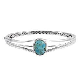 Arizona Matrix Turquoise (Ovl) Bangle (Size 7.5) in ION Plated Platinum Bond 6.250 Ct.
