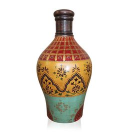 Turquoise, Yellow and Mughal Multi Colour Beautifully Hand-Painted Terracotta Decorative Pot (Size 42 Cm)