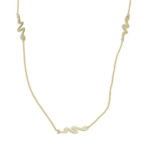 Jewels of India Yellow Gold Overlay Sterling Silver Snake Necklace (Size 30), Silver wt 4.48 Gms.