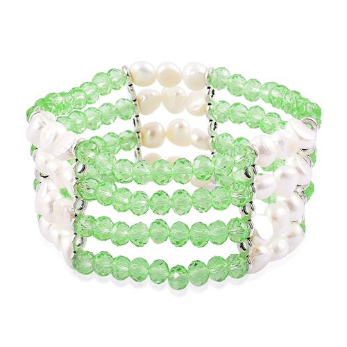 Fresh Water White Pearl and Simulated Emerald Stretchable Bracelet (Size 7) in Silver Tone