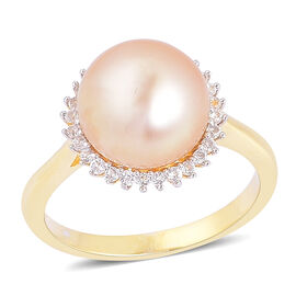 South Sea Golden Pearl (Rnd 10.5-11 mm), White Topaz Ring in Yellow Gold Overlay Sterling Silver
