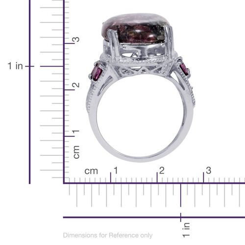 Russian Eudialyte (Ovl 11.00 Ct), Rhodolite Garnet Ring in Platinum Bond 12.250 Ct.