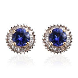 ILIANA 18K Yellow Gold 1.35 Carat AAA Tanzanite Round Halo Stud Earrings, Diamond SI G-H with Screw Back.