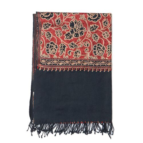 Limited Available 100% Merino Wool Floral Embroidered Black Colour Shawl with Tassels (Size 200x70 Cm)