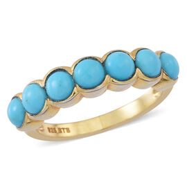 Arizona Sleeping Beauty Turquoise (Rnd) 7 Stone Ring in 14K Gold Overlay Sterling Silver Ring  1.250 Ct.