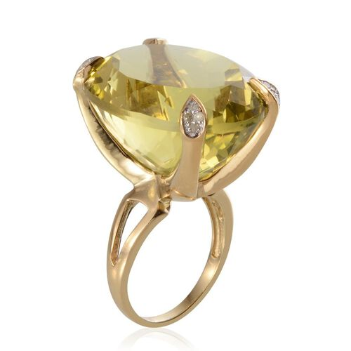 Brazilian Green Gold Quartz (Ovl 64.00 Ct), Diamond Ring in 14K Gold Overlay Sterling Silver 64.200 Ct.