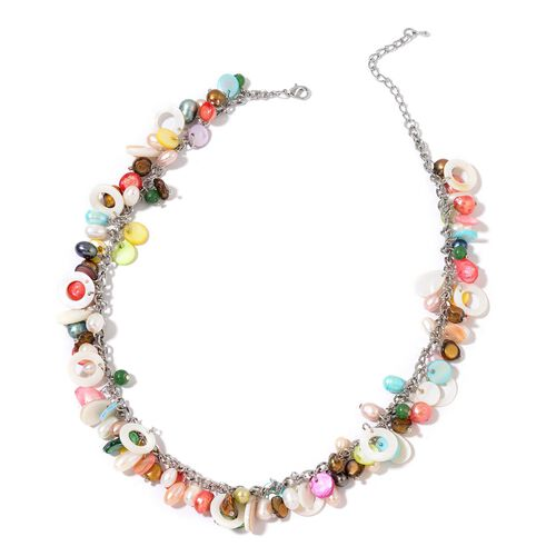 Fresh Water Multi Colour Pearl, Multi Colour Shell and Simulated Emerald Cluster Charms Necklace (Size 18 with 2 inch Extender) in Silver Tone