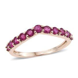 9K Yellow Gold 1 Carat Burmese Ruby Wishbone Ring