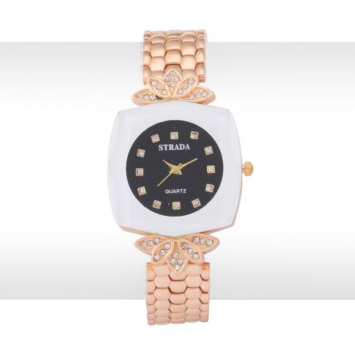 STRADA Japenese Movement White Austrian Crystal Studded Black Dial Water Resistant Watch in Gold Tone with Stainless Steel Back and Chain Strap