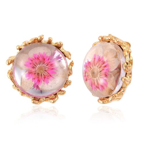 Natural Flower Preserved Stud Earrings in ION Plated Gold with Stainless Steel