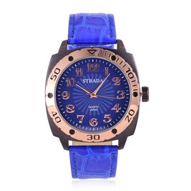 STRADA Japanese Movement Blue and Rose Gold Colour Dial Water Resistant Watch in Black Tone with Stainless Steel Back and Blue Strap