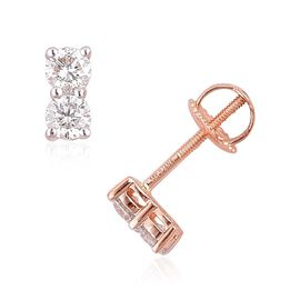 ILIANA 18K Rose Gold 0.50 Carat IGI Certified Diamond SI G-H Stud Earrings