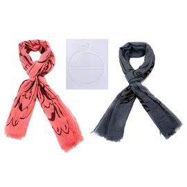 Set of 2 - Pink and Grey Colour Wave Pattern Scarf with a Hanger (Size 170x60 Cm)