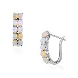 Ethiopian Welo Opal (Ovl) Hoop Earrings (with Clasp) in Platinum Overlay Sterling Silver 2.250 Ct.