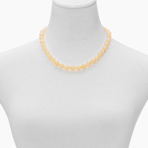 Natural Rare Honey Round Jade (9-10 mm) Necklace (Size 18) in Rhodium Plated Sterling Silver 250.00 Ct.