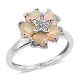 Ethiopian Welo Opal (Hrt), Diamond Floral Ring in Platinum Overlay Sterling Silver 1.760 Ct.