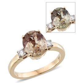 ILIANA 18K Y Gold Turkizite (Ovl 3.05 Ct), Diamond Ring 3.250 Ct.
