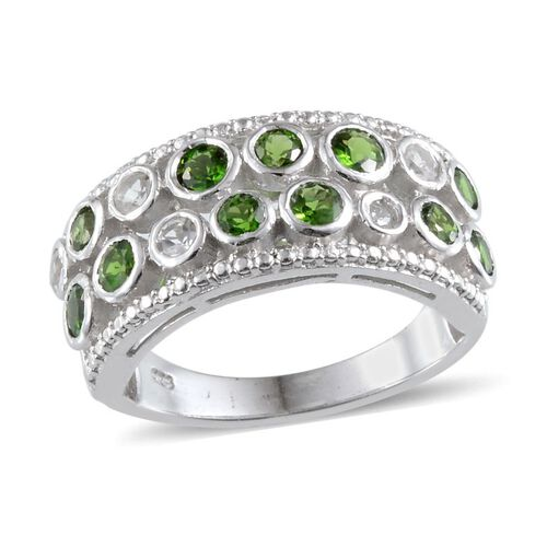Russian Diopside (Rnd), White Topaz Ring in Platinum Overlay Sterling Silver 1.250 Ct.