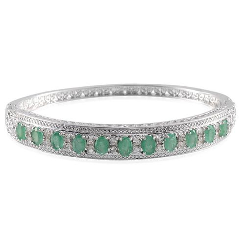 Kagem Zambian Emerald (Ovl), White Topaz Bangle (Size 7.5) in Platinum Overlay Sterling Silver 6.000 Ct.