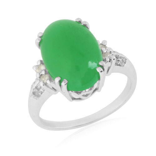 Emerald Quartz (Ovl 7.50 Ct), Green Sapphire and Diamond Ring in Platinum Overlay Sterling Silver 7.750 Ct.