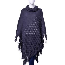 Grey Colour Wing Pattern Poncho with Long Collar and Tassels (Size 95x95 Cm)