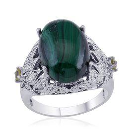 Malachite (Ovl 14.25 Ct), Hebei Peridot and Diamond Ring in Platinum Bond 14.510 Ct.