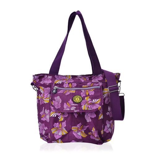 Dark Fuchsia and Multi Colour Floral Pattern Waterproof Handbag with Adjustable and Removable Shoulder Strap (Size 28.5X28X10 Cm)