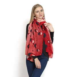 LucyQ 100% Mulberry Silk Digital Print Red, Coral and Black Colour Bubble Pattern White Colour Scarf (Size 170x100 Cm) 40 Grms