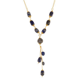 Designer Inspired Lapis Lazuli (Fancy) Necklace (Size 30) in Yellow Gold Bond 150.000 Ct.