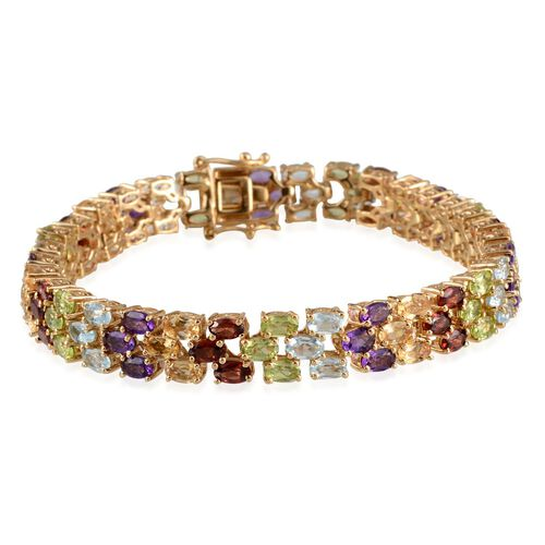 Sky Blue Topaz (Ovl), Mozambique Garnet, Hebei Peridot, Citrine and Amethyst Bracelet (Size 8) in 14K Gold Overlay Sterling Silver 21.000 Ct.