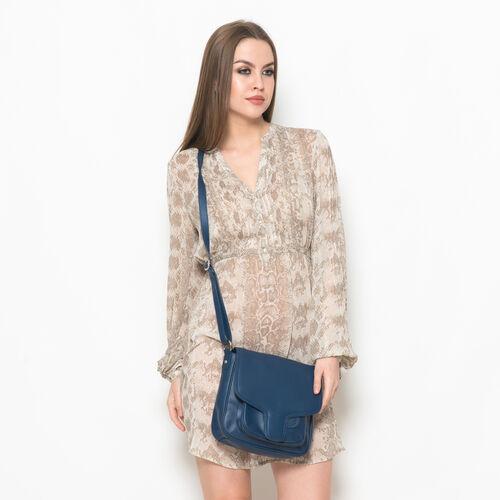 Genuine Leather Blue Colour Sling Bag with External Zipper Pocket and Adjustable Shoulder Strap (Size 23x23 Cm)