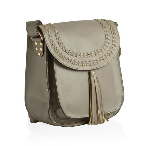 Genuine Leather Grey Colour Crossbody Bag with Shoulder Strap