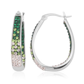 Vicenza Collection Emerald Colour In and Out Hoop Earrings (with Clasp) in Silver Bond