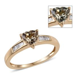 14K Y Gold Natural Turkizite (Trl 0.85 Ct), Diamond Ring 1.000 Ct.