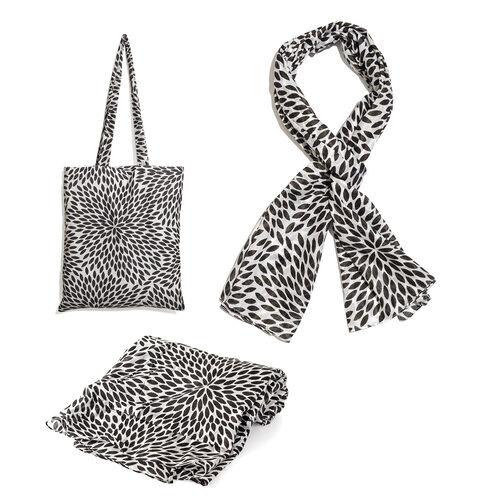 100% Cotton Black Colour Leaves Printed White Colour Towel (Size 160x90 Cm), Pareo (Size 160x50 Cm) and Bag (Size 35x33 Cm)