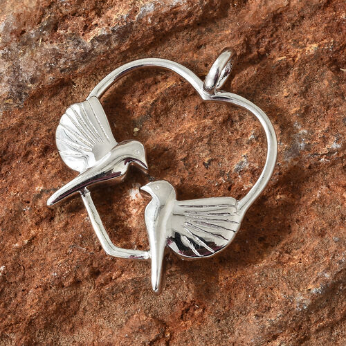 Platinum Overlay Sterling Silver Birds in Heart Pendant, Silver wt 4.88 Gms.