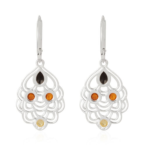 Multi Baltic Amber Lever Back Earrings in Rhodium Plated Sterling Silver 2.000 Ct.