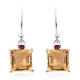 Citrine (Sqr 5.15 Ct), Mozambique Garnet Earrings in Sterling Silver 5.250 Ct.
