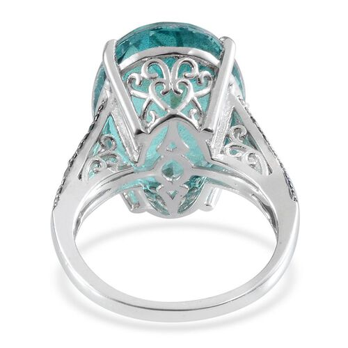 Paraiba Tourmaline Colour Quartz (Ovl 15.00 Ct), Blue Diamond Ring in Platinum Overlay Sterling Silver 15.030 Ct.