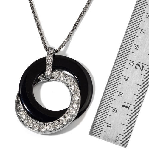 White Austrian Crystal and Simulated Black Stone Pendant With Chain (Size 30 with 1 inch Extender) in Black Tone