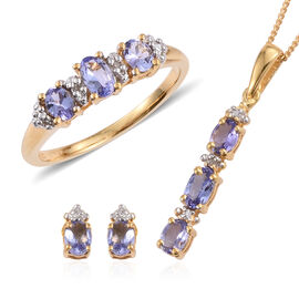 Tanzanite, Diamond Trilogy Set of Ring, Pendant With Chain and Stud Earrings in 14K Gold Overlay Sterling Silver 1.530 Ct.
