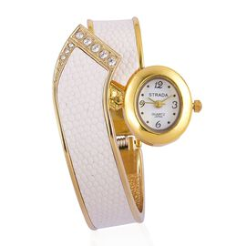 STRADA AAAA Austrian Crystal White Snake Skin Pattern Bangle Watch in Yellow Gold Tone