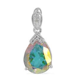 Mercury Mystic Topaz (Pear 9.25 Ct), Diamond Pendant in Platinum Overlay Sterling Silver 9.260 Ct.