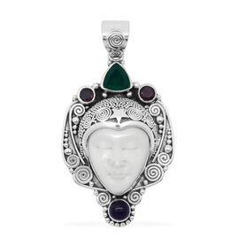 Princess Bali Collection OX Bone Carved Face (Ovl 7.00 Ct), Green Onyx, Rhodolite Garnet and Amethyst Pendant in Sterling Silver 9.280 Ct.